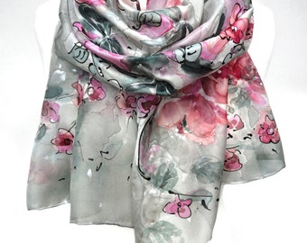 Pink Silver Scarf. Hand Painted Silk Romantic Scarf. Anniversary Gift. Genuine Art. Bridal Wedding Shawl. For Her. 18x71in MADE to ORDER