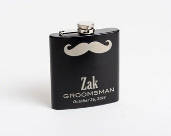 Personalized Flasks, Groomsmen Gift, Mustache Flasks, Engraved Stainless Steel Flask, Monogram Flask, Flask