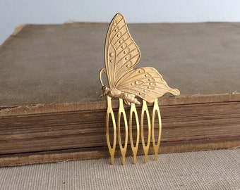Butterfly comb, rustic wedding, butterfly wedding, Gold hair Comb, Garden wedding hair accessories bridal comb brass gold hair clip