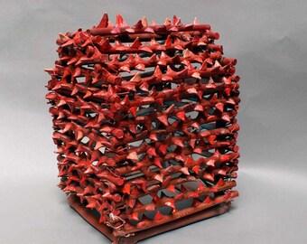 "Ceramics Sculpture Fine Art Ceramics House of Rose Thorns Ceramic Sculpture Home Decor Art Pottery Red Rose Thorn Sculpture 14 x 11 x 10"""