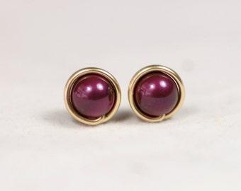 Gold Purple Pearl Stud Earrings Wire Wrapped Jewelry Rose Gold Earrings Rose Gold Jewelry Rose Gold Pearl Studs Purple Earrings