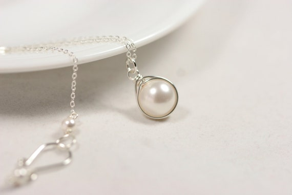 White Pearl Necklace Wire Wrapped Jewelry Handmade Bridal Pearl Necklace Sterling Silver Necklace Pearl Solitaire Necklace Bridesmaids Gifts