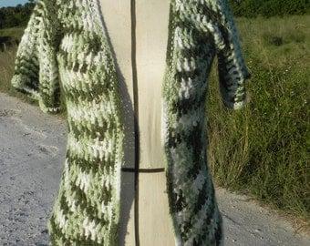 Handmade Green Ombre Open Front Short Sleeve Sweater