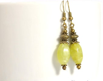 Spring Green Earrings, Yellow Green, Small Dangle Earrings