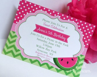watermelon invites | etsy, Birthday invitations