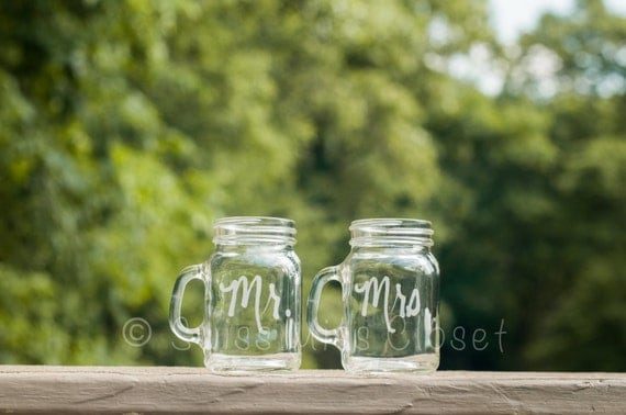 Mr. & Mrs. Etched Mini Mason Jar Shot Glass Personalized  Wedding Gift