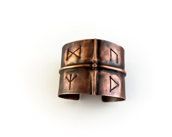 Copper Viking Rune Cuff Bracelet - Made to Order Personalized - Elder Futhark Nordic Pagan Amulet Talisman - Rustic Fold Formed Handcrafted