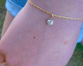 Crystal Rhinestone Charm Bracelet - gold or silver