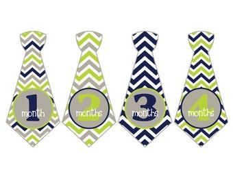 Monthly Tie Stickers Baby Month Milestone Stickers 1-12 Month to Month Boy Baby Shower Gift Baby Accessories Newborn Photo Prop BMST003