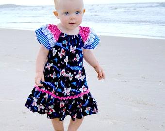 Baby sewing pattern PDF, baby girls dress pattern, peasant dress pattern, infant pattern, baby dress pattern, baby clothing pattern CAROUSEL