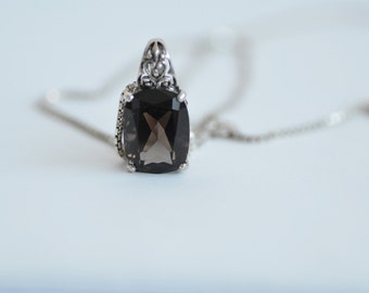 Smoky Quartz and Sterling Silver Pendant and Chain Necklace