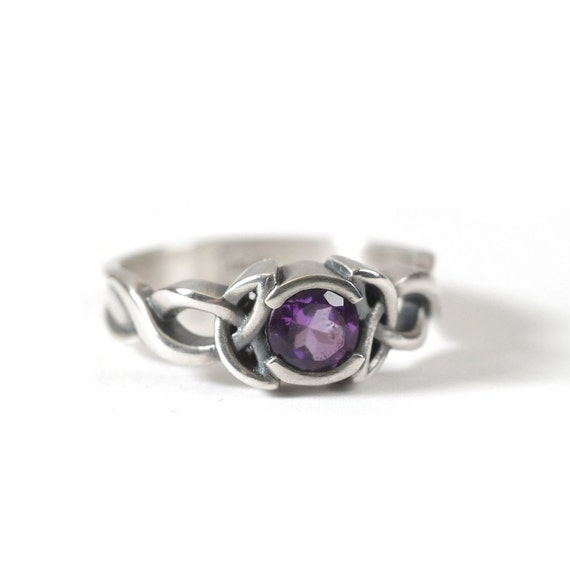 Amethyst Engagement Ring, Sterling Silver Celtic Knot Ring,  Celtic Eternity Ring, Unique Engagement Ring, Handcrafted in Your Size CR-405b