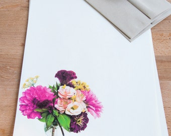 Letter Writing Set,  Personalized Letter Stationery Set with Floral Bouquet
