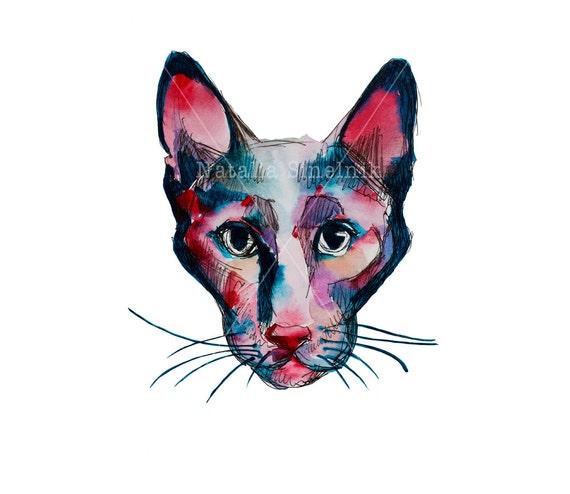 Abstract sphinx cat head digital download from original watercolor art nursery art, pet clipart watercolour illustration