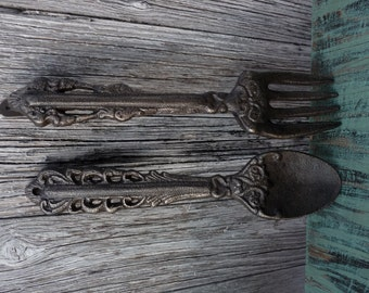 Vintage Style Cast Iron Fork & Spoon Kitchen Wall Decor ~ Gold Accents ~ Rustic Shabby Chic