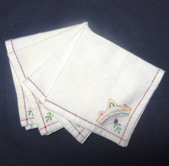 Vintage tea luncheon or bridge napkins hand by