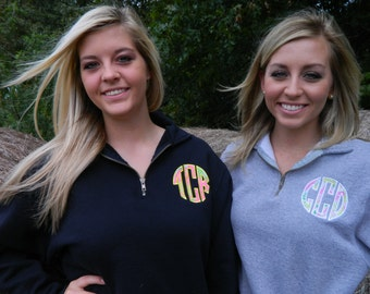 1/4 Zip sweatshirt with Lilly Pulitzer fabric round monogram applique in Oxford, Navy or Black
