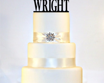 "Monogram Wedding Cake Topper Or Sign personalized with ""Mr & Mrs"" and YOUR Last Name"