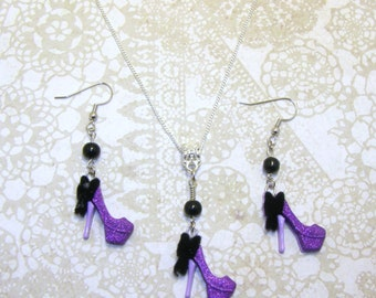 High Heel Stilleto Necklace With Matching Earrings, Necklace & Earrings Set, High Heel Jewelry, Stilleto Jewelry, Purple High Heel Earrings