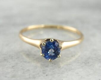 Blue Ceylon Sapphire, Classic Antique Gold Engagement Ring Solitaire - FZAEJV-N