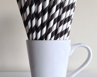 Black Striped Paper Straws Black Black Party Supplies Party Decor Bar Cart Cake Pop Sticks Mason Jar Straws  Party Graduation