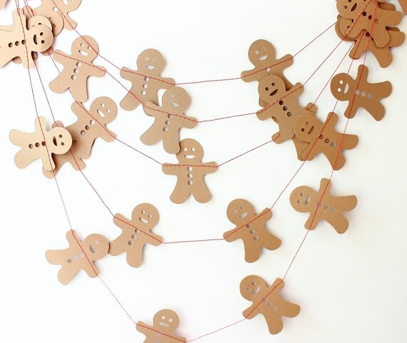 Gingerbread garland christmas garland winter decor - Guirlande de noel en papier ...