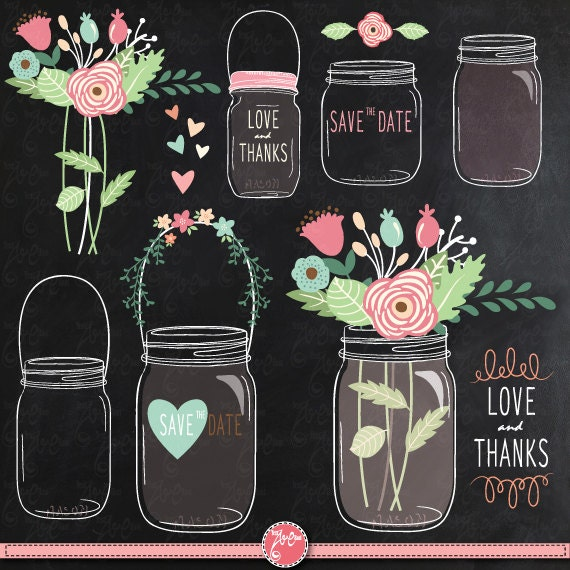 """Flower Wall Decor Reversible Mosaic With Chalkboard: Chalkboard Mason Jar Clipart: """"CHALKBOARD MASON JAR"""" Clip"""