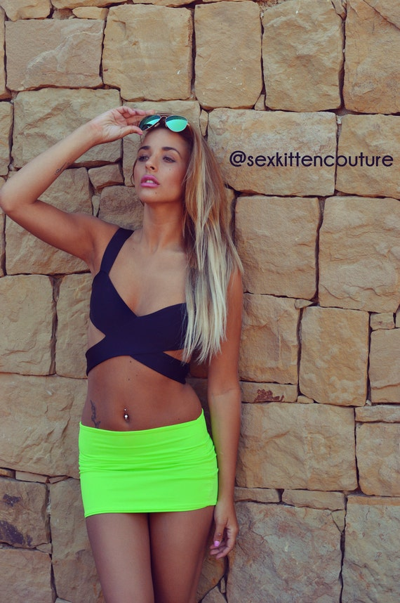 60% CLEARANCE Sale! Green Mini Skirt by Sex Kitten Couture