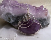 Designer Amethyst Cabochon Stone Pendant in Silver Artistic Wire Wrapped with Sterling Silver Chain February Birthstone Jewelry