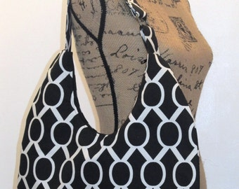 Hobo Bag / Zippered Hobo Bag / Hobo Purse / Zippered Hobo Purse/ Shoulder Bag / Handbag / Purse /  Black and White