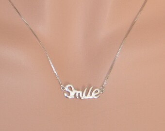 Sterling Silver Letter Smile Necklace