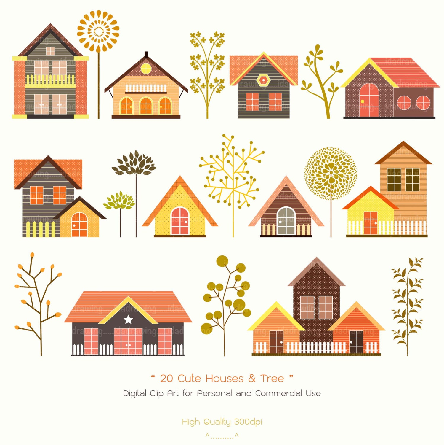 20 cute houses trees digital clip art houses clipart tree clipart scrapbooking autumn clip art