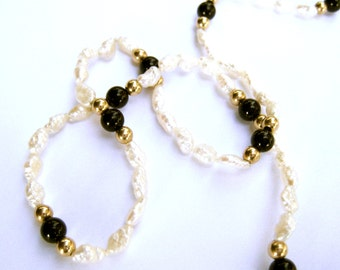 Beaded Necklace Freshwater Pearls 14K Gold and Onyx Beads Fine Jewelry