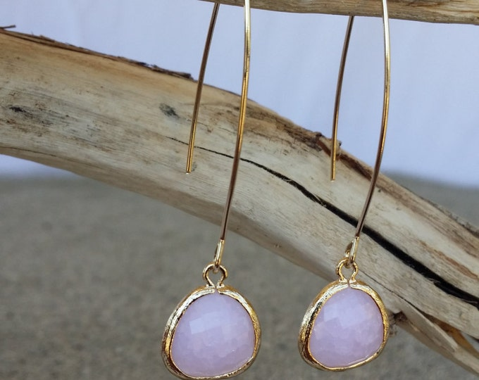 Bezel Set, Drop Earring, Faceted Crackled Glass, Gold Filled Ear Wire, Pink