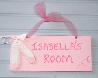 Girl's Name Sign. Ballet Hand Personalized Room Sign, Pink. Kid's Door Plaque. Girl's Room Decor. Name Plaque. Girl's Door Sign. Wall Art.
