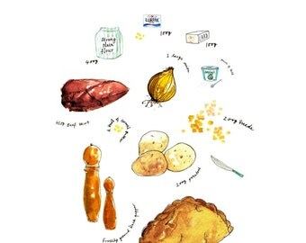 Cornish Pasty recipe illustration Print A4
