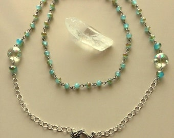 Long Crystal And Silver Necklace 33 Inches - Downton Abbey Style