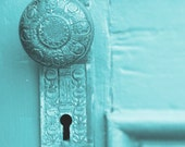 Turquoise Door Knob Photograph Aqua Door Photography. Teal Keyhole Hardware Architectural Wall Decor Vintage Escutcheon Plate. Bohemian Boho