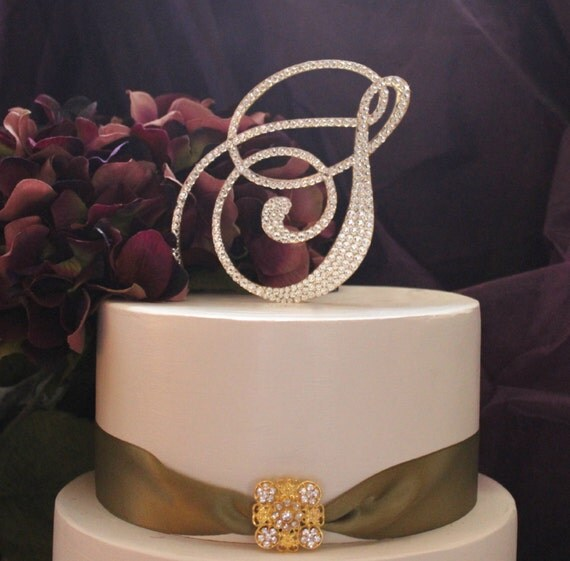 gold h wedding cake topper items similar to monogram gold wedding cake topper initial 14786