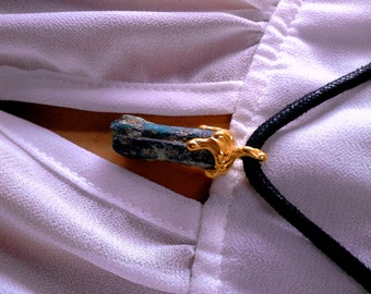 High Positive Energy,Mind-blowing Raw Kyanite in Dripping Gold Plated .925 Sterling Silver Pendant ...