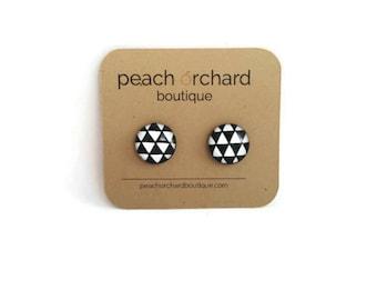 NEW Black and White Triangles- Geometric earrings