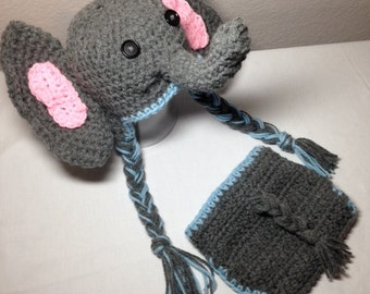 Crochet NB through 12mos baby boy elephant outfit photography prop