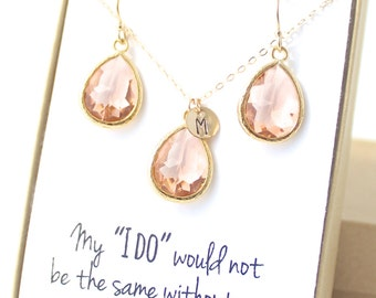 Bridesmaid Jewelry (Peach Champagne / Gold Teardrop Necklace and Earring Set ENB1)