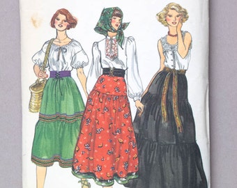 1970s / 1980s Vogue Skirt Pattern Tiered Peasant Skirt Three Styles Midi or Maxi Length Vintage Sewing Pattern // Vogue 9748 Waist 25