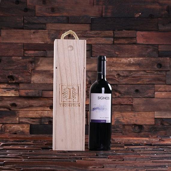 Personalized Wood Single Bottle Wine Box Weddings & Holiday