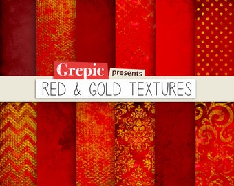 """Red digital paper: """"RED & GOLD TEXTURES"""" with gold red grungy paper, dirty backgrounds, gothic, grunge, gold, christmas and texture patterns"""