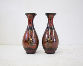 Pair of Japanese Porcelain and Lacquer Vases