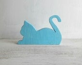 Wood cat silhouette  - Made to order - home decor light blue