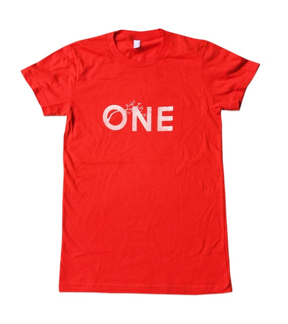 CLEARANCE SALE - One Shirt - Womens One Tree Tshirt - Orange Shirt - American Made - In Small, Medium, Large, XL