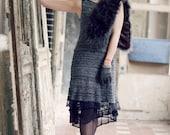 little black dress - retro clothing - black lace dress - cocktail dress - french chic - unique